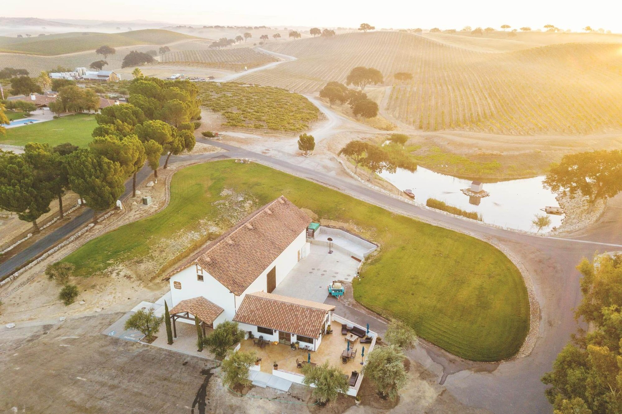 Aerial photo of the Hearst Ranch Winery tasting room and bottling room.